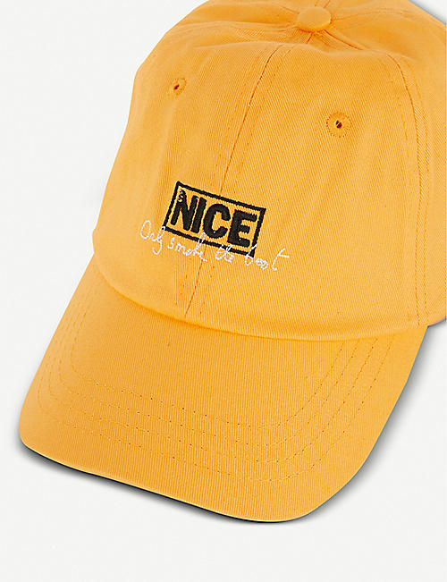 MR NICE Only Smoke the Best slogan-print woven cap