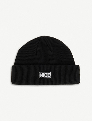 MR NICE Branded wool-knit beanie