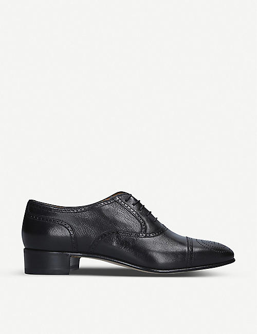 GUCCI: Dracma GG-detailed leather Derby shoes