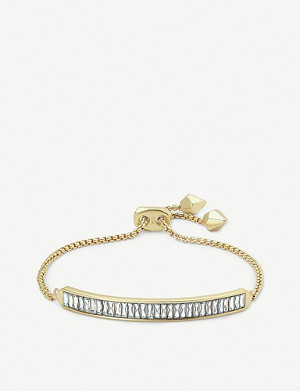 KENDRA SCOTT Jack crystal and 14ct gold-plated bracelet