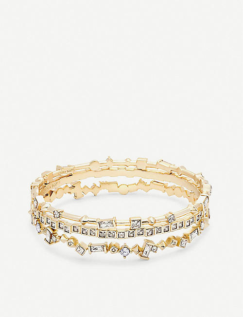 KENDRA SCOTT: Malia 14ct gold-plated and crystal bracelet set
