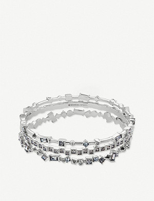 KENDRA SCOTT Malia rhodium-plated and crystal bracelet set