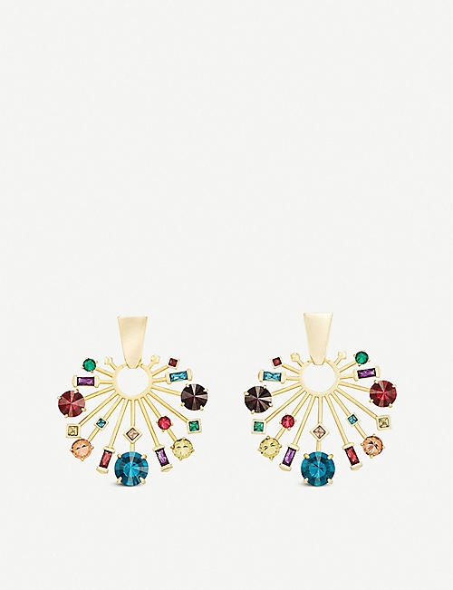 KENDRA SCOTT: Fabia 14ct gold-plated and crystal earrings