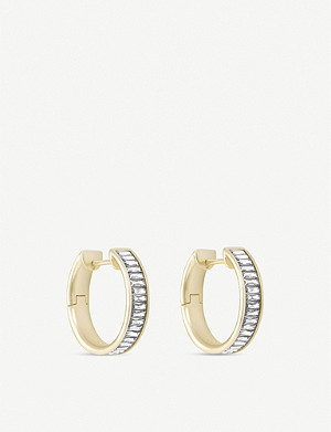 KENDRA SCOTT Jack crystal and 14ct gold-plated hoop earrings