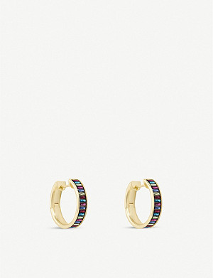 KENDRA SCOTT Jack 14ct gold-plated brass and crystal hoop earrings