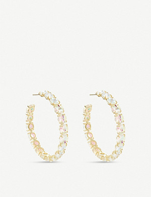 KENDRA SCOTT Jolie Hoop 14ct gold-plated brass and crystal earrings