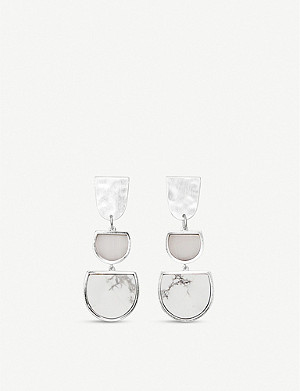KENDRA SCOTT Luna rhodium-plated brass and mother-of-pearl drop earrings