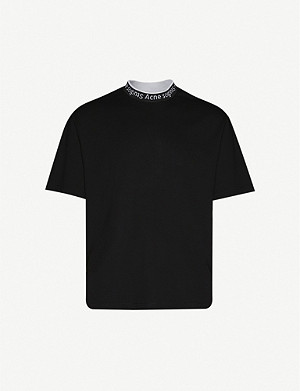 ACNE STUDIOS Logo-collar stretch-jersey T-shirt