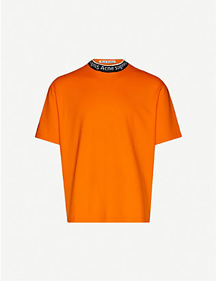 ACNE STUDIOS: Logo-collar stretch-jersey T-shirt