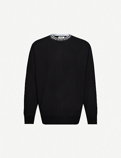 ACNE STUDIOS Logo-collar cotton-jersey sweatshirt