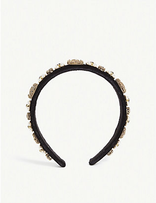 PARKSIDE LONDON: Crystal and pearl cluster velvet headband
