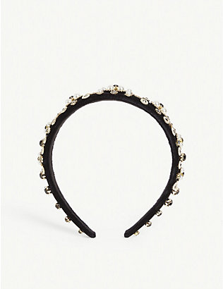PARKSIDE LONDON: Wide pearl and crystal headband