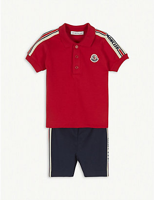 MONCLER: Striped logo cotton polo shirt and shorts set 3-36 months