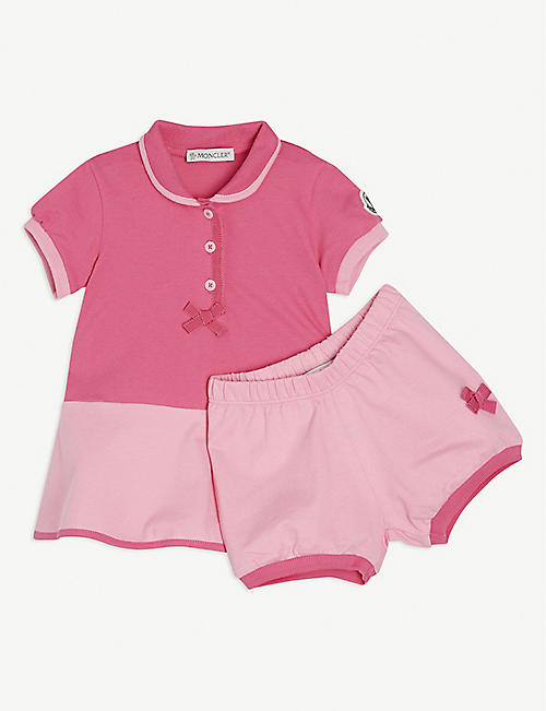 MONCLER: Cotton polo dress and bloomers set 3-36 months