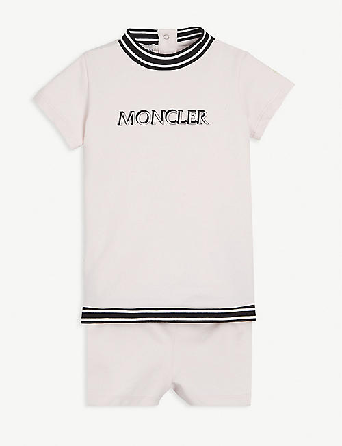 MONCLER Logo-printed cotton-blend dress and bloomers 6-36 months
