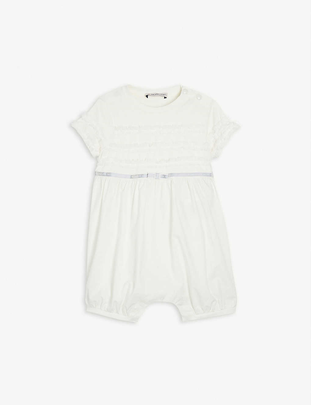 MONCLER: Frilled cotton-blend babygrow 3-24 months