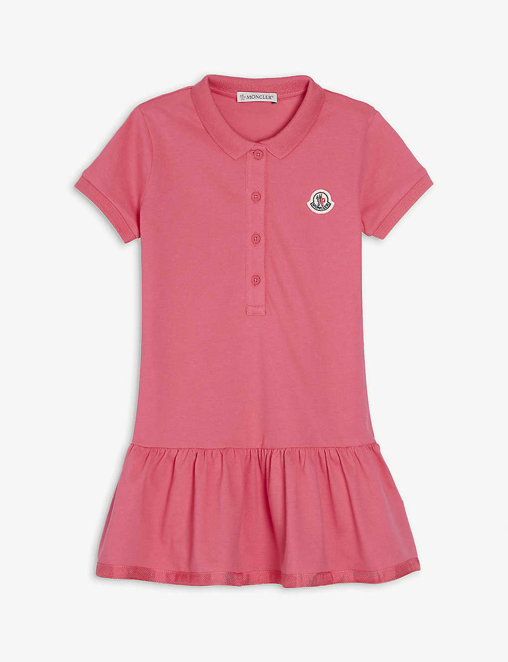 MONCLER: Frilled skirt cotton polo dress 4-14 years