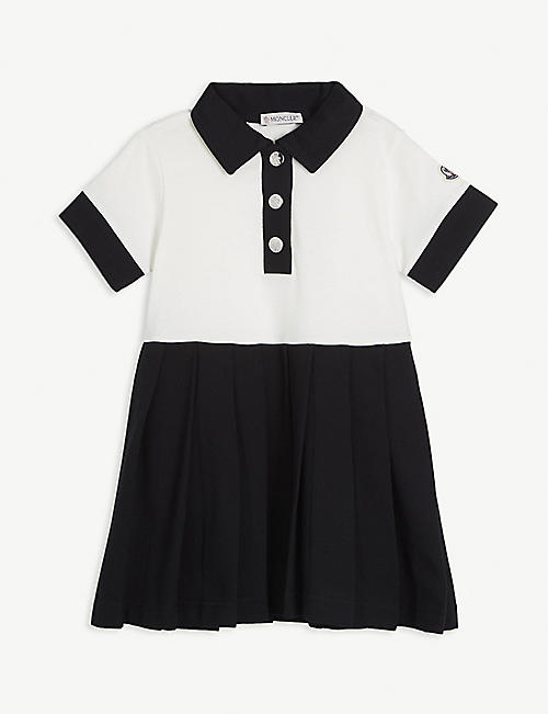 MONCLER Polo pleated skirt cotton-blend dress 4-10 years