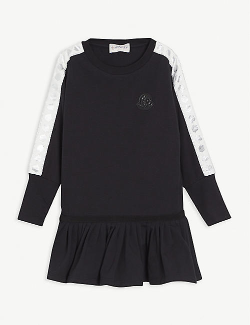 MONCLER: Frilled skirt cotton dress 4-14 years