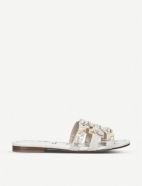 SAM EDELMAN: Bay shell-embellished fabric sandals