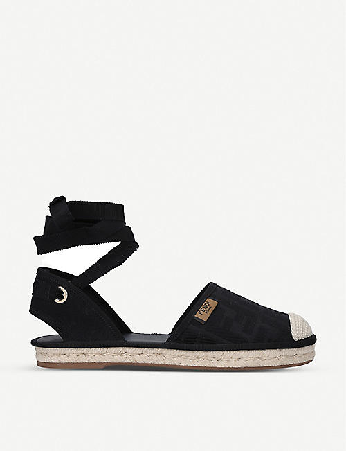 FENDI: Roma lace-up canvas espadrille sandals