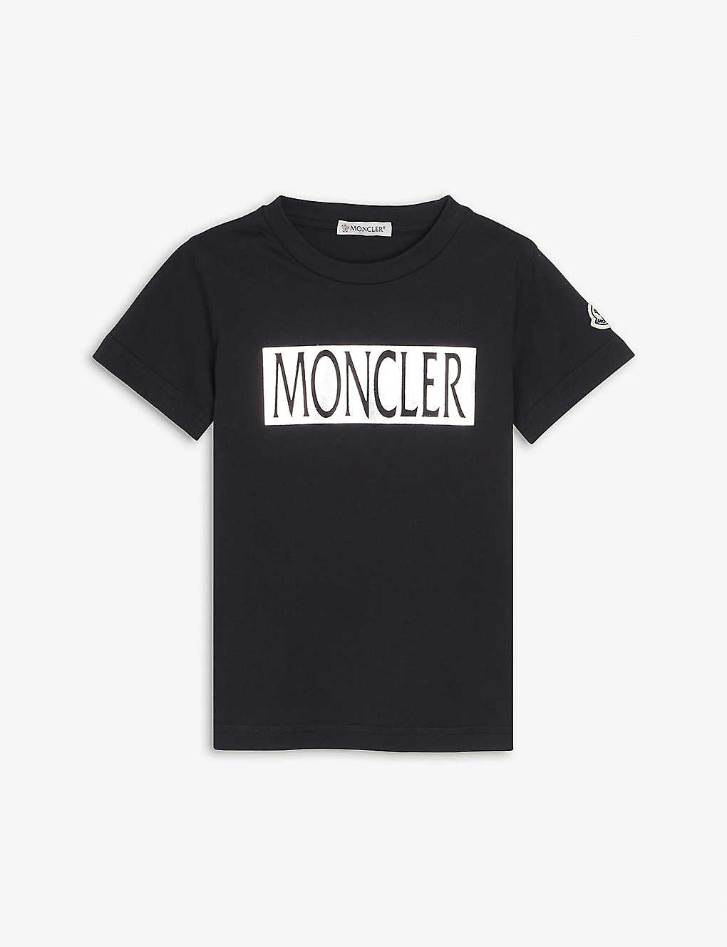 MONCLER: Metallic logo cotton t-shirt 4-14 years