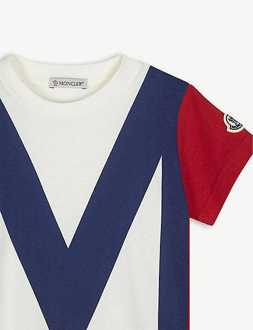 MONCLER Colour block logo print cotton T-shirt 4-14 years