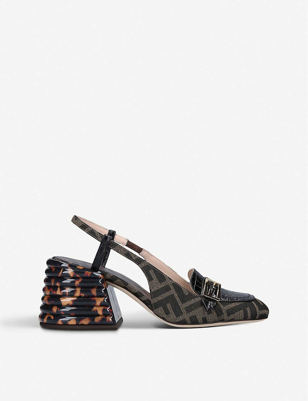 FENDI: Promenade FF-print leather and textile loafers