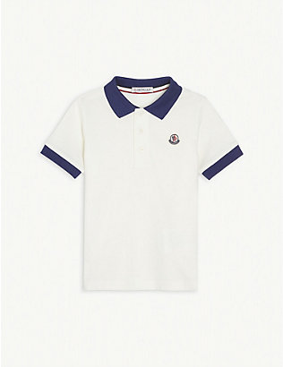 MONCLER: Logo patch cotton polo shirt 4-14 years