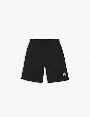 MONCLER: Logo patch cotton shorts 4-14 years