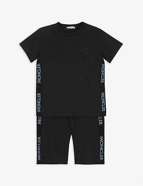 MONCLER: Grosgrain logo-print cotton T-shirt and short set 4-14 years