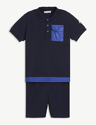 MONCLER: Cotton polo shirt and shorts set 4-14 years