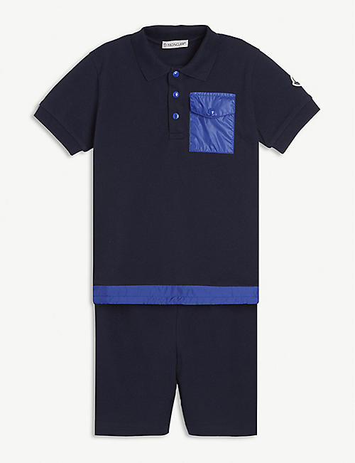MONCLER Cotton polo shirt and shorts set 4-10 years