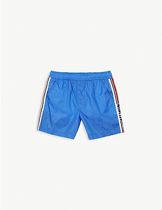 MONCLER: Striped logo swim shorts 4-14 years