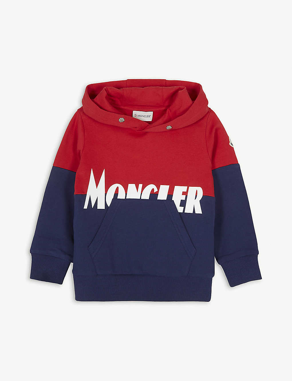 MONCLER: Block panel cotton hoody 4-14 years