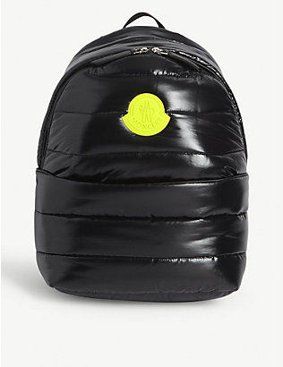 MONCLER: Kids logo-print quilted nylon backpack