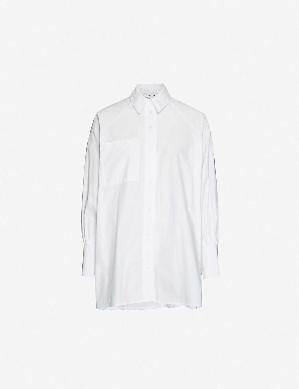 TOPSHOP: Oversized cotton-poplin shirt