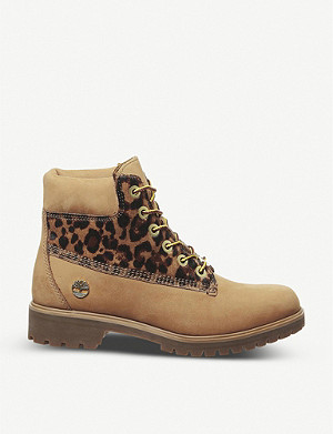 TIMBERLAND Slim Premium 6 Inch leopard print-detail nubuck leather boots