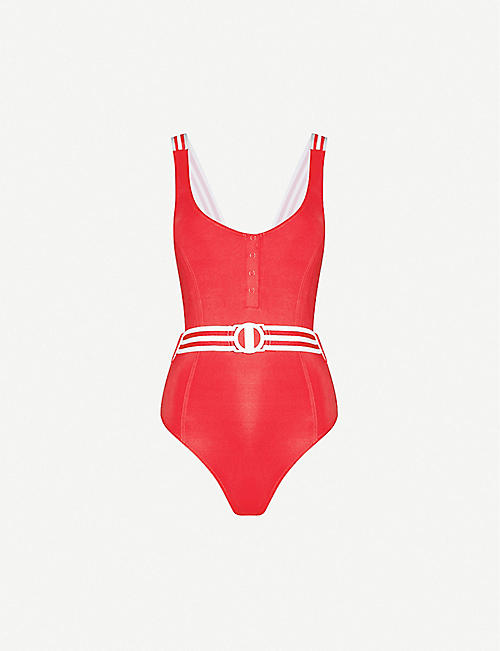 SEAFOLLY: Stripe-trimmed scoop-neck swimsuit