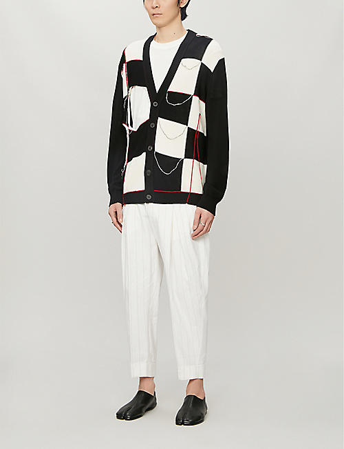 ISABEL BENENATO Check-print V-neck cotton-knit cardigan