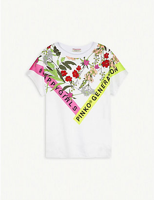 PINKO: Floral graphic-print cotton T-shirt 8-16 years