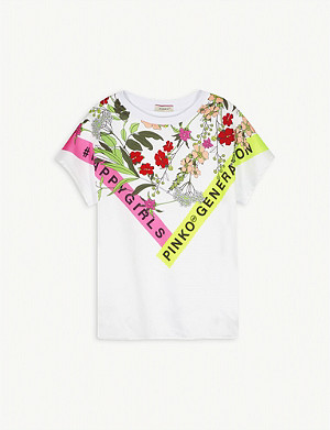 PINKO Floral graphic-print cotton T-shirt 2-16 years