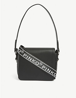 PINKO: Kids logo-print leather backpack
