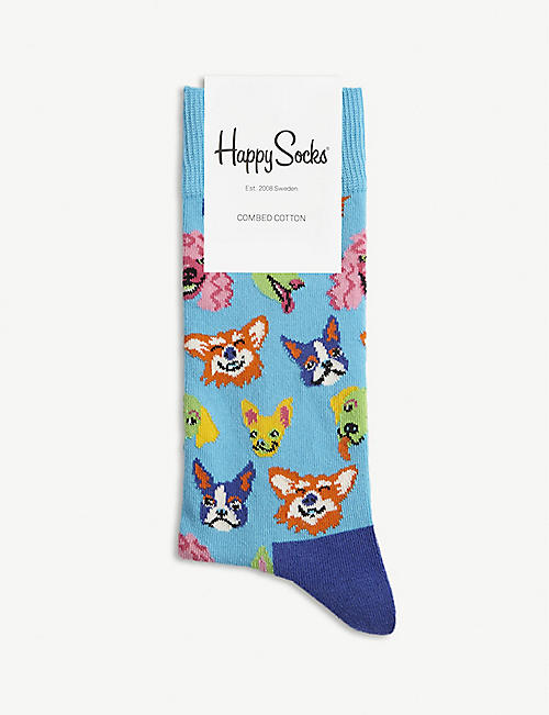 HAPPY SOCKS Dog print combed cotton blend socks