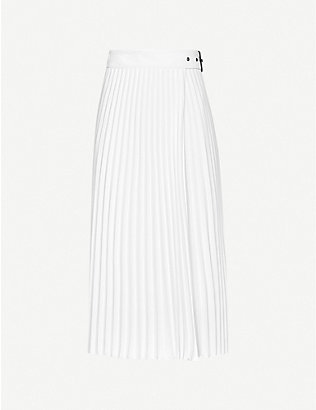 REISS: Arielle pleated woven midi skirt