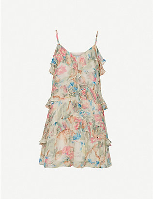 REISS: Ida floral-print chiffon mini dress