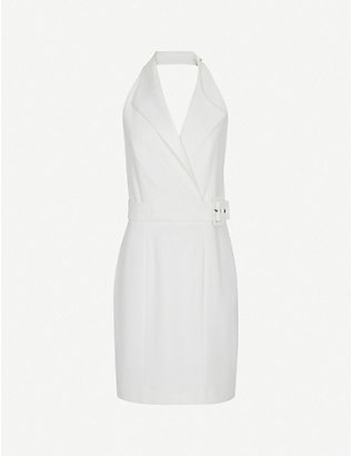 REISS: Immy halterneck stretch-twill mini dress