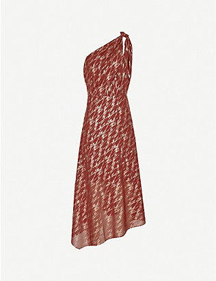 REISS: Delilah asymmetric chiffon midi dress