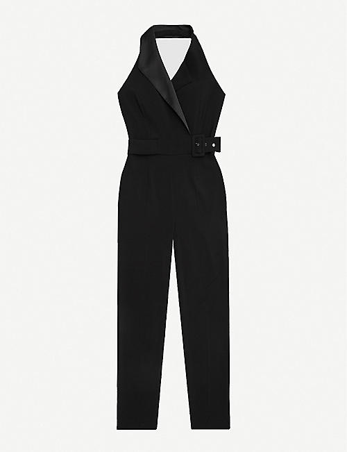 REISS: Belinda tux-detail stretch-crepe jumpsuit