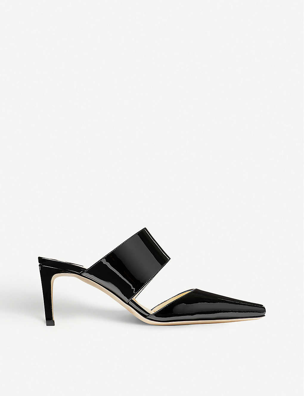 JIMMY CHOO: Hawke 65 patent leather mules